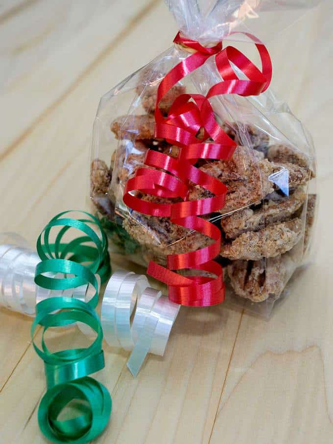 Southern candied pecans are a perfect make-ahead holiday gift for your friends and family. They're super simple to make, and stay deliciously crunchy when packaged in airtight containers.