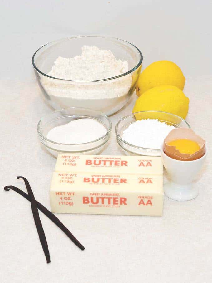 Ingredients for Meyer Lemon Sables