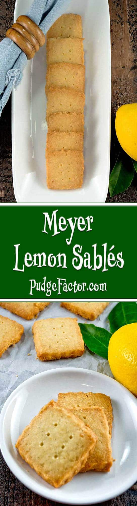"Meyer Lemon Sablés, with their characteristic ""sandy"" texture, are buttery rich with a delicate hint of lemon from lemon zest. They make the perfect holiday cookie."