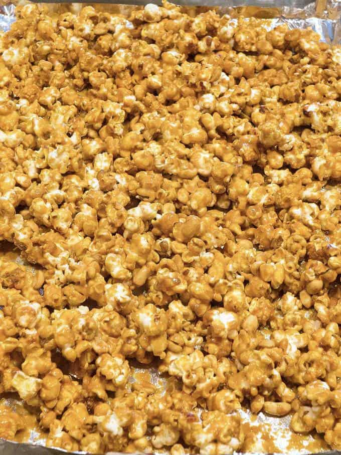 Old-Fashioned Caramel Corn. It's sweet, crunchy, and totally addictive. When stored in an airtight container, caramel corn will keep for several weeks, if it lasts that long!