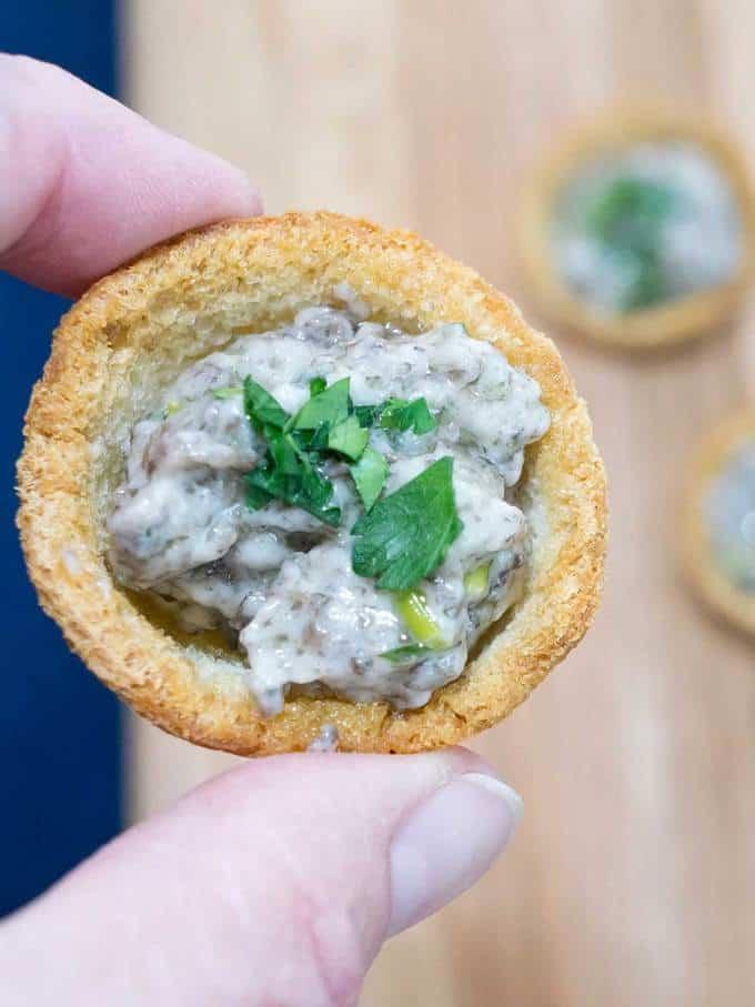 Elegant Make Ahead Mushroom Croustades - crispy bread shell with creamy mushroom filling.