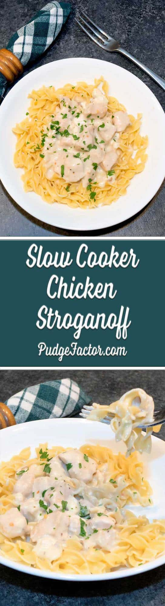 Slow Cooker Chicken Stroganoff - succulent chicken pieces cooked in an amazing sauce with just a hint of wine and served over egg noodles.