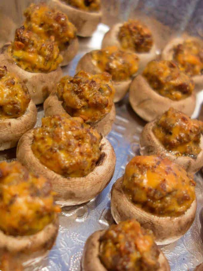 Sausage n'Cheese Stuffed Mushrooms - watch them fly off the plate.