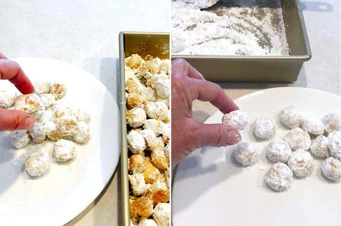 Rolling the Snowball Cookies in Confectioners' Sugar