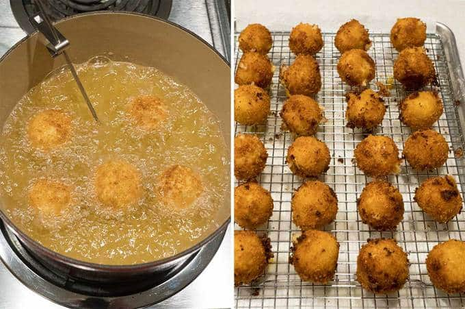 Cooking and draining the Potato Balls