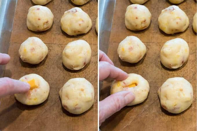 Inserting cheese