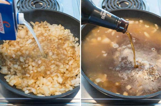 Adding chicken broth and Guinness
