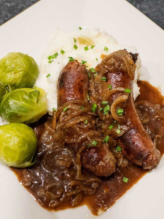 Bangers and Mash with Onion Gravy - The Pudge Factor