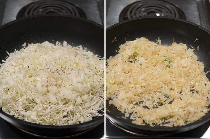 Sautéing the onions and cabbage