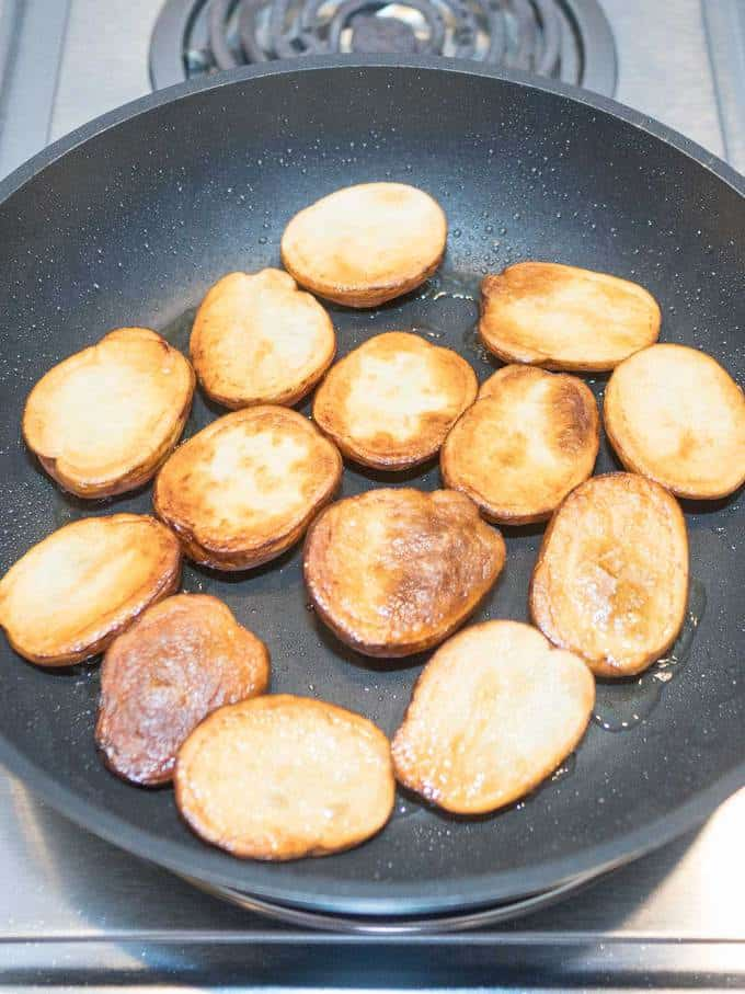 Potatoes turned over