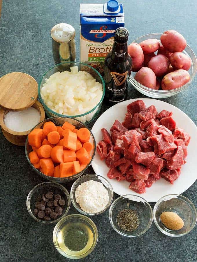 Ingredients for Slow Cooker Irish Guinness Beef Stew