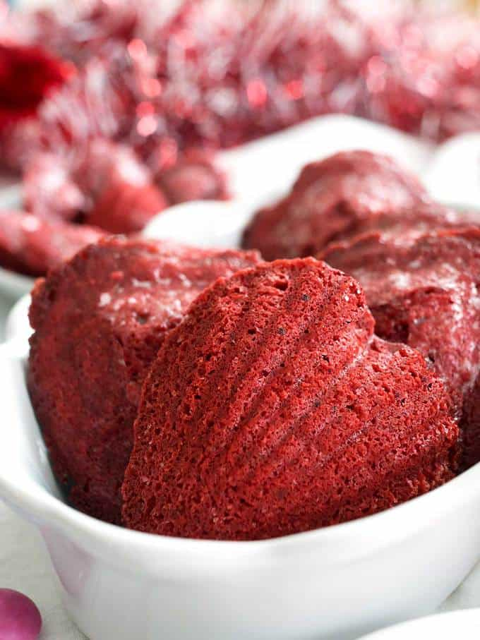 Heart-shaped Red Velvet Madeleines