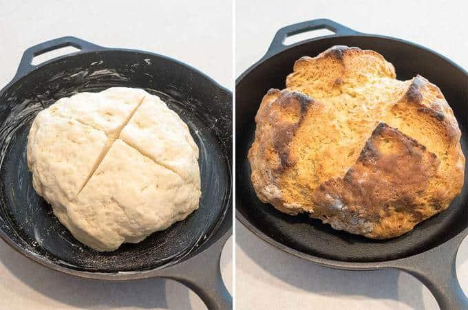 Dough in cast iron skillet