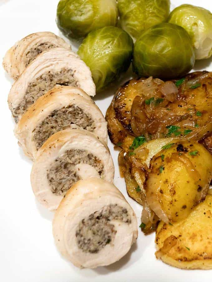 Stuffed Chicken Breasts with Creme Dijon Wine Sauce