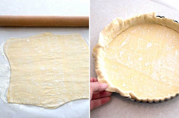 Forming the puff pastry for the Onion and Mushroom Tart