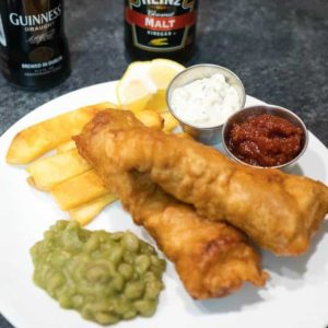Beer Battered Fish Chips and Mushy Peas