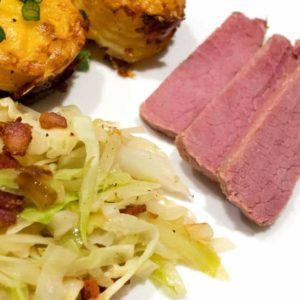 Sous Vide Corned Beef with Irish Fried Cabbage with Onion and Bacon