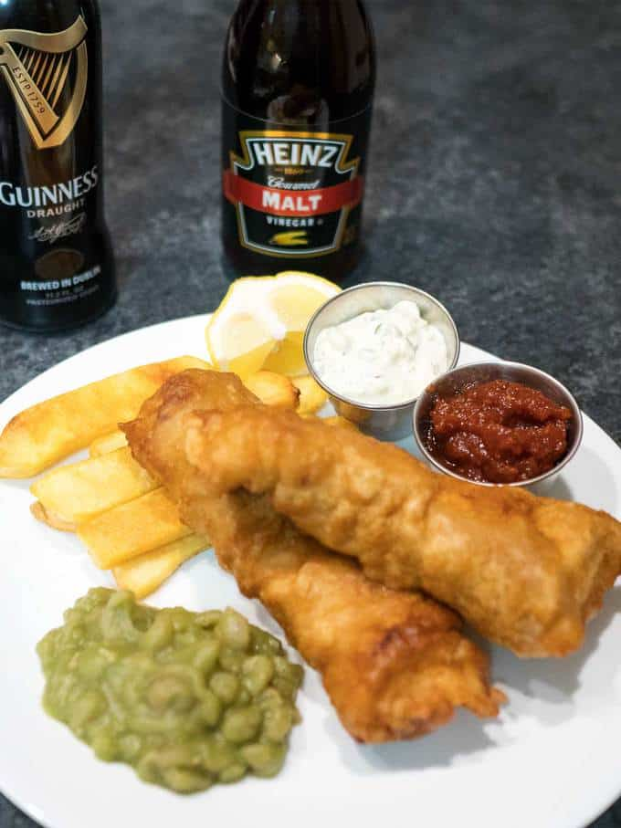 Beer Battered Fish and Chips with Mushy Peas
