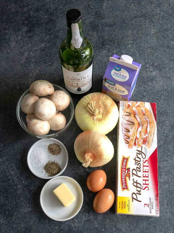 Ingredients for Onion and Mushroom Tart in Puff Pastry