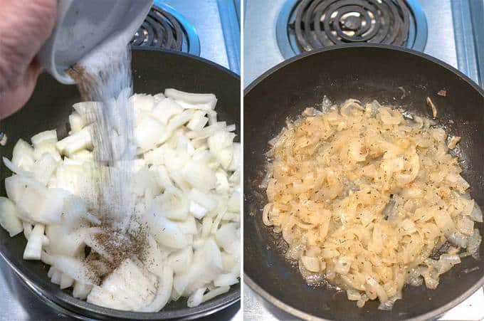 Cooking the Onions for the Onion and Mushroom Tart in Puff Pastry