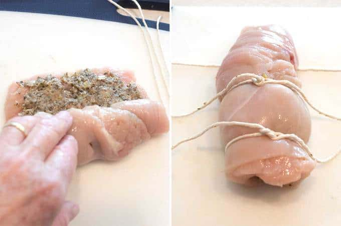 Stuffing chicken breasts