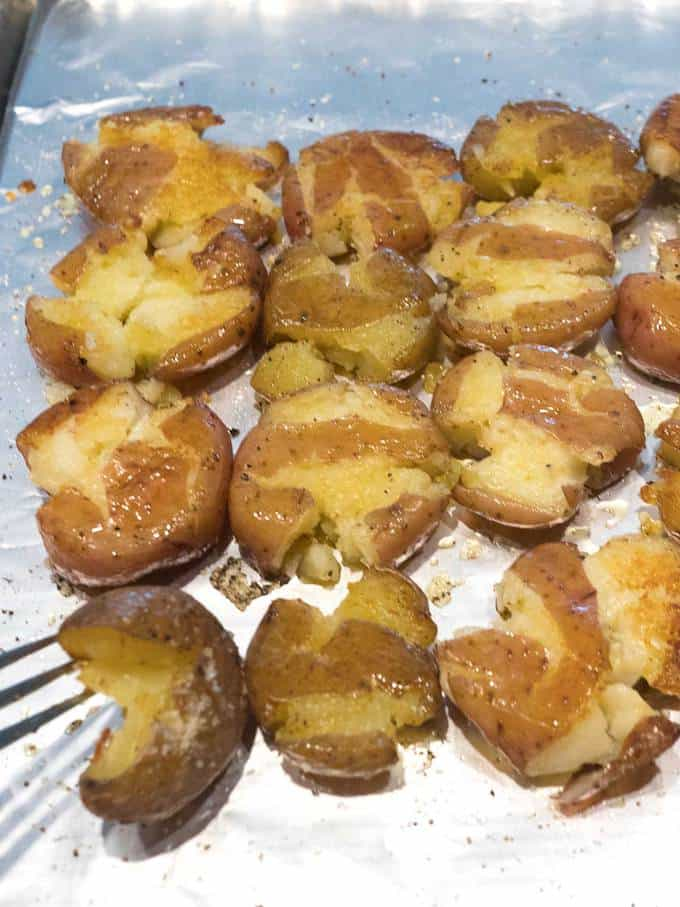 Crispy Smashed Parmesan Potatoes