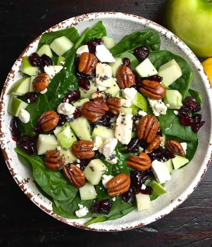 Spinach Apple and Cranberry Salad