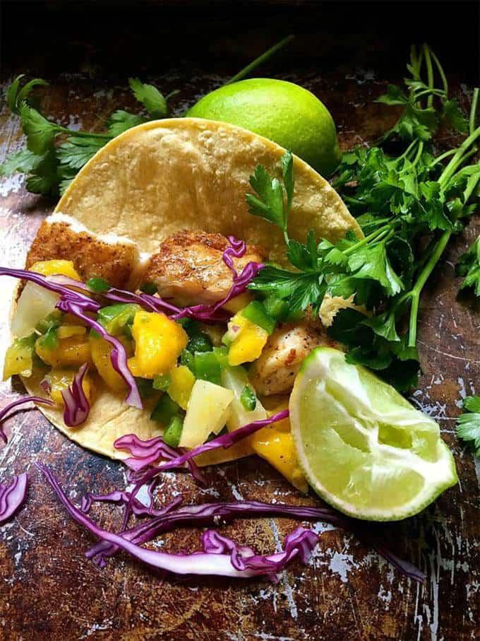 Fish Tacos with Mango Salsa