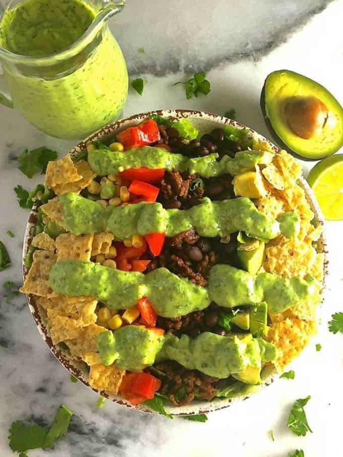 Taco Salad with Avocado Lime Dressing