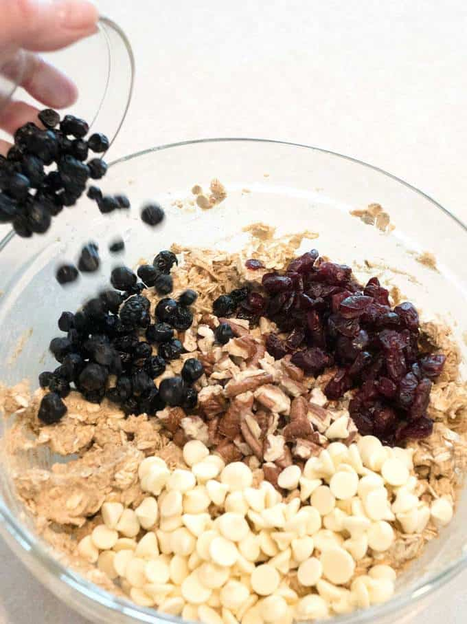 ... toasted pecans, dried cranberries, white chips, and dried blueberries