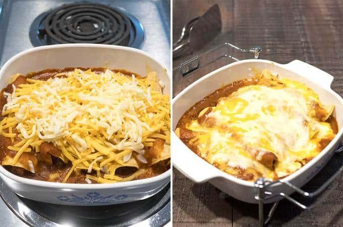 Adding cheese to enchiladas