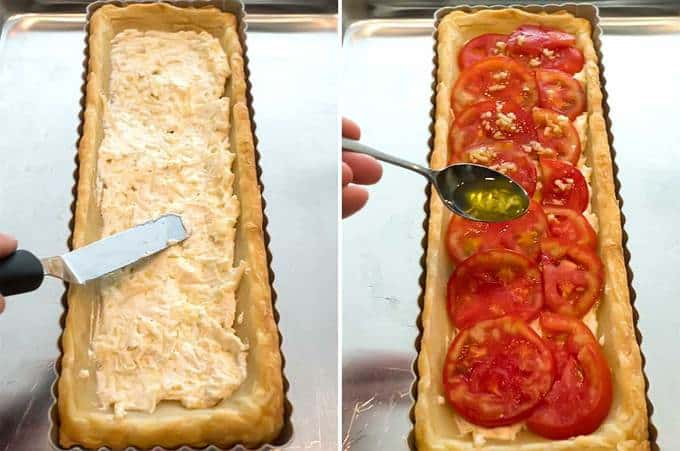 Delicious fresh tomato tart with creamy base in puff pastry