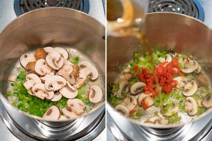 Cooking the vegetables for the shrimp newburg