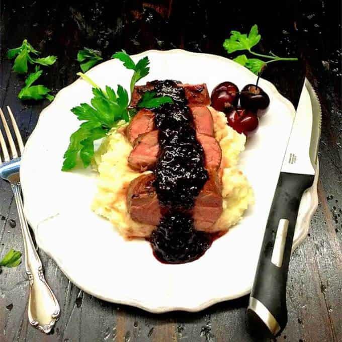 Grilled Pork Tenderloin with Dark Cherry Sauce