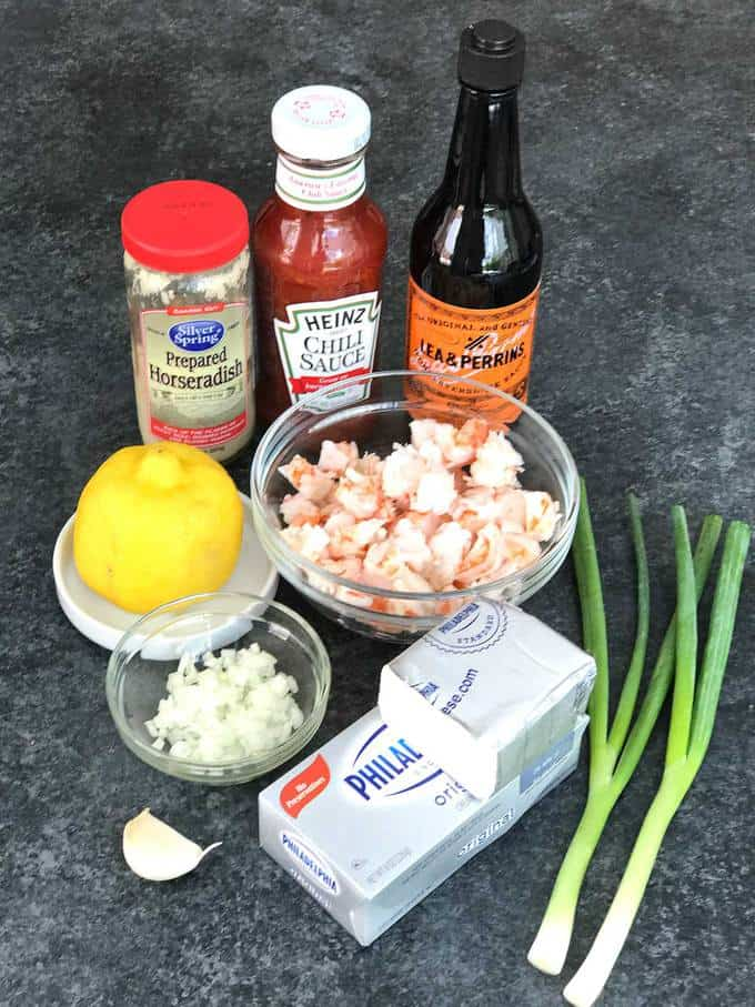 Ingredients for delicious layered shrimp cocktail spread