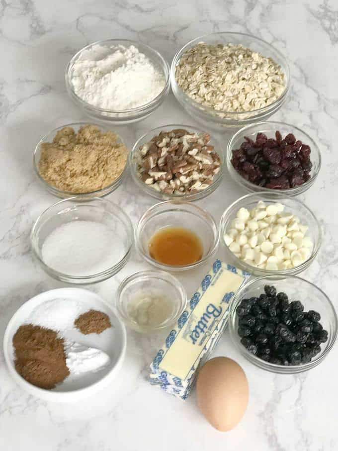 Ingredients for red, white, and blue oatmeal cookies