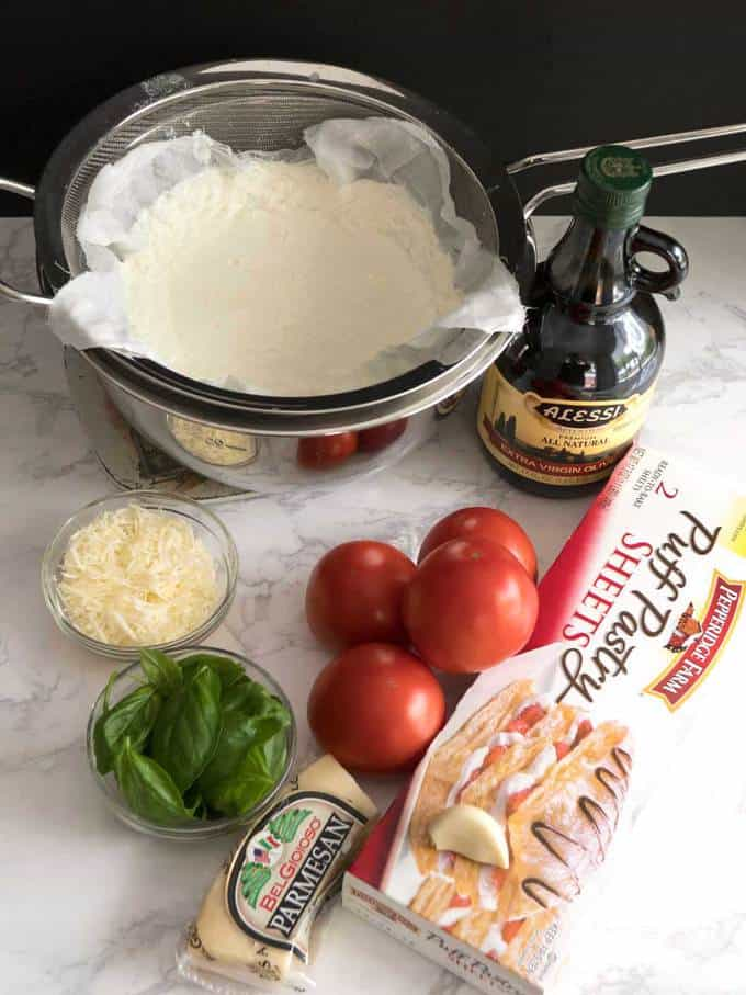 Ingredients for fresh tomato tart