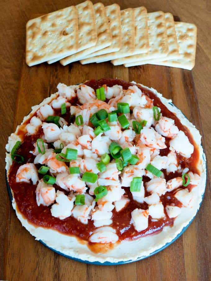 Layered shrimp cocktail spread