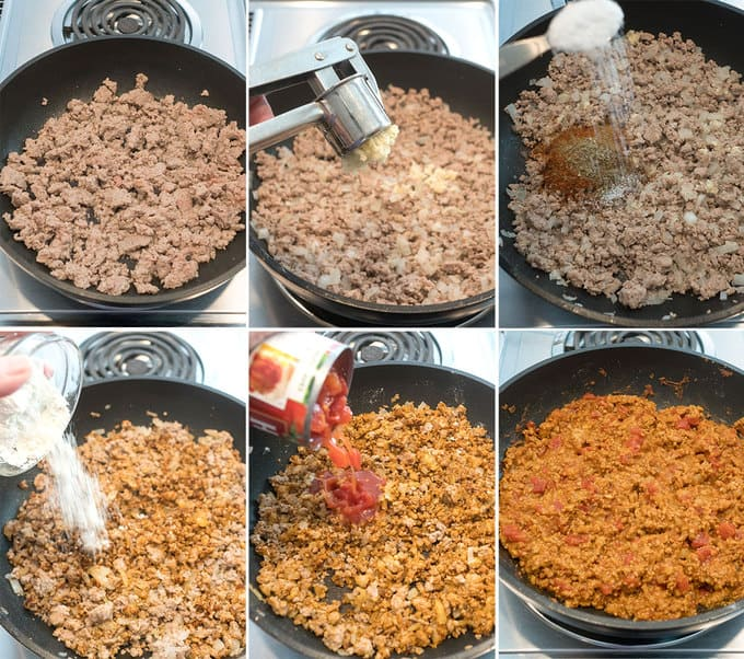 Making the meat sauce for the enchiladas
