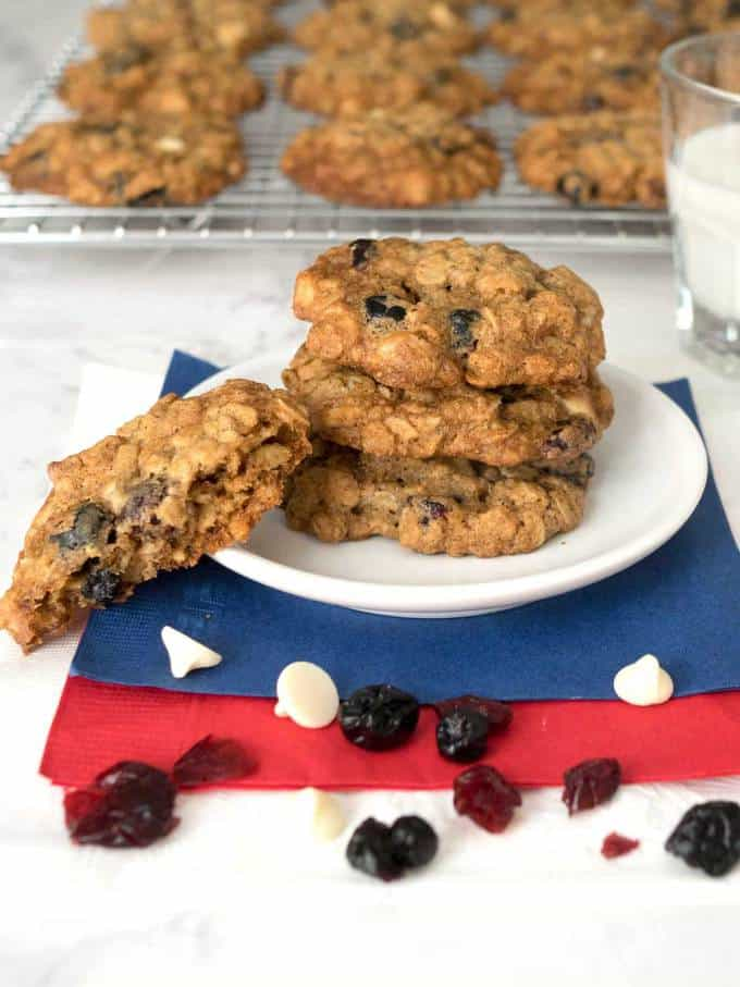 Red, white, and blue oatmeal cookies