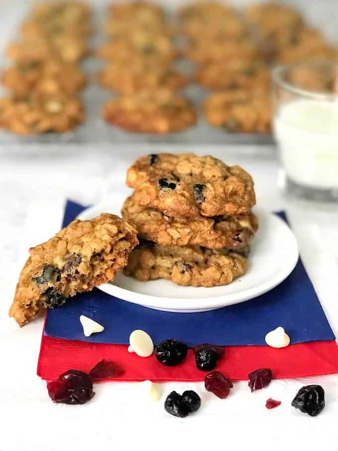 Red White and Blue Oatmeal Cookies - The Pudge Factor