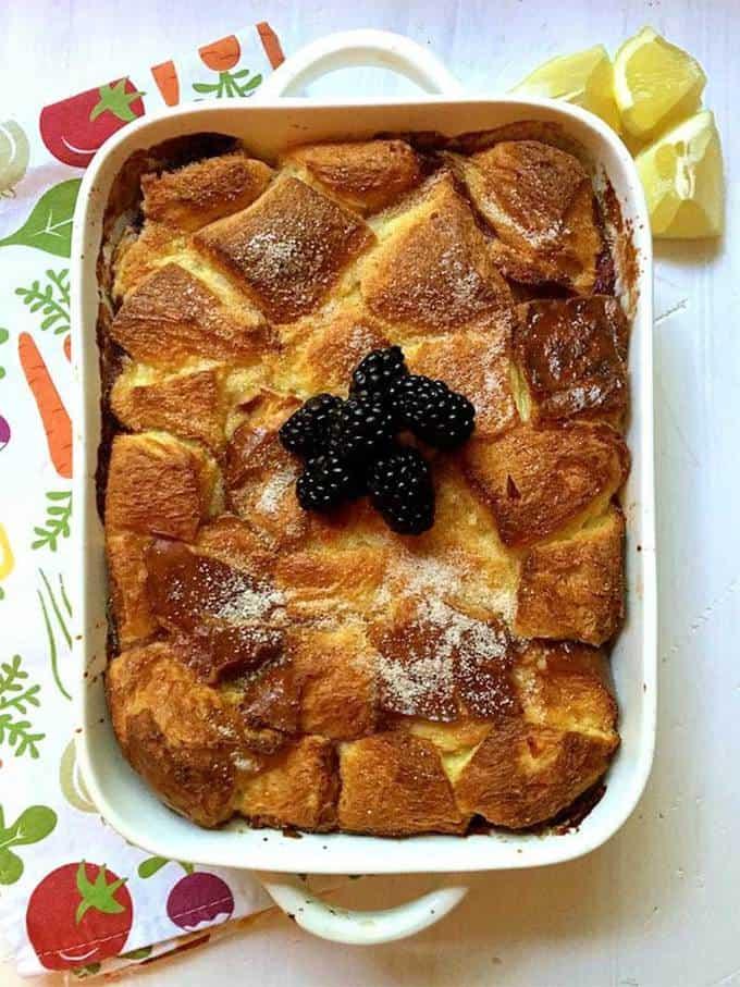 Lemon Blackberry Bread Pudding