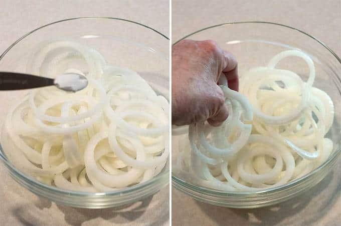 Sliced onions for Vidalia Onion Confit