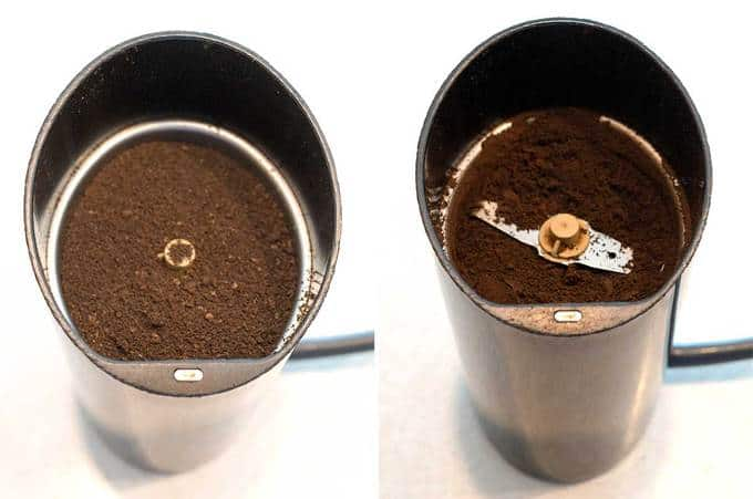 Before and after grinding to a powder