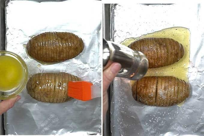 Preparing Hasselback potatoes for oven.