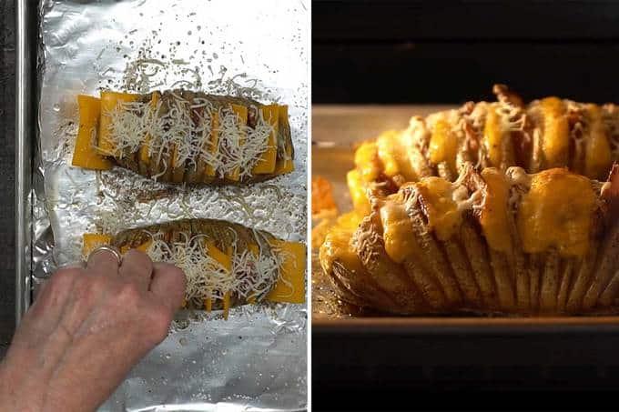 Building the cheesy bacony Hasselback potatoes