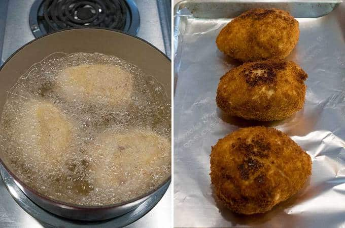 Cooking the chicken kiev