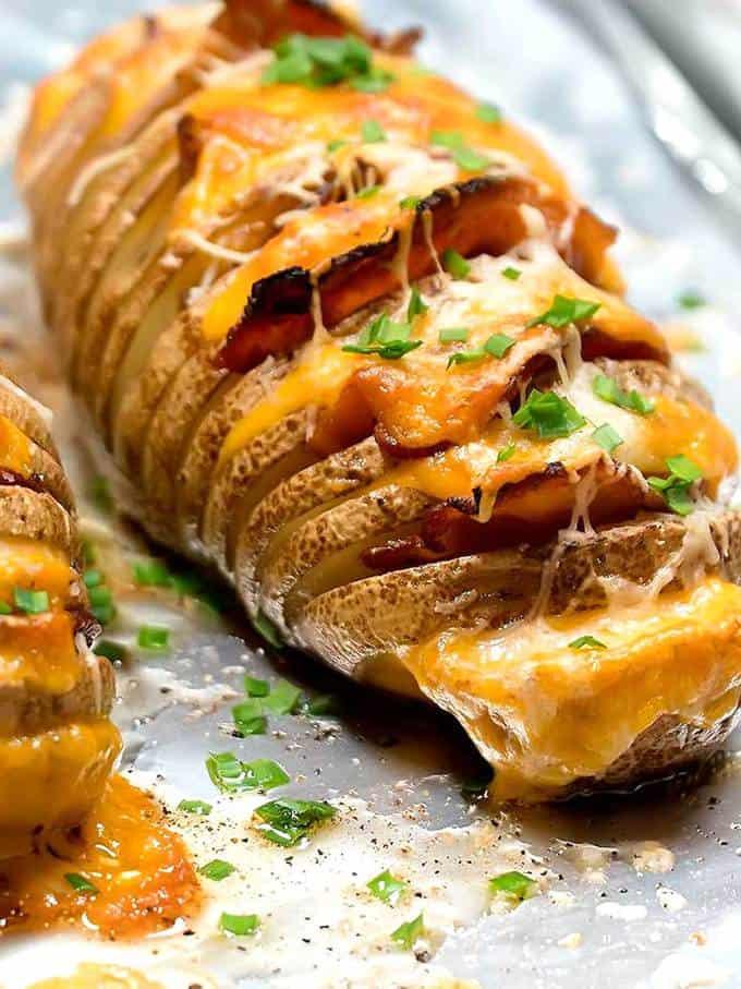 Cheesy Bacony Hasselback Potatoes