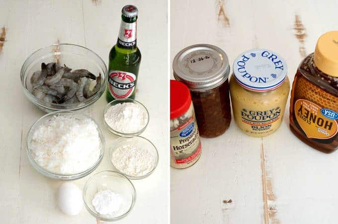 Ingredients for coconut shrimp with orange marmalade dipping sauce
