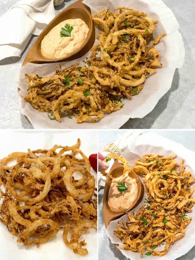Crispy fried onion strings with spicy dipping sauce